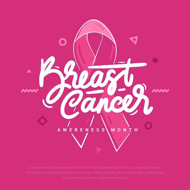 Letras de awereness de câncer de mama Vetor Premium