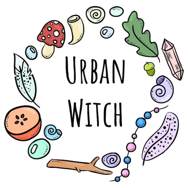 Letras de bruxa urbana com rabiscos coloridos Vetor Premium
