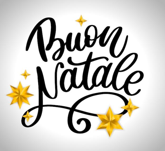 Letras de buon natale modelo de caligrafia Vetor Premium