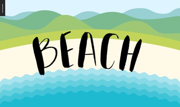 Letras de caligrafia de praia Vetor Premium