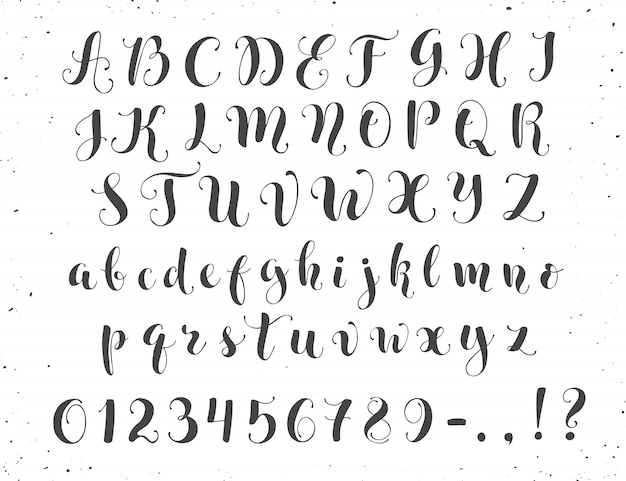 Letras de caligrafia Vetor Premium