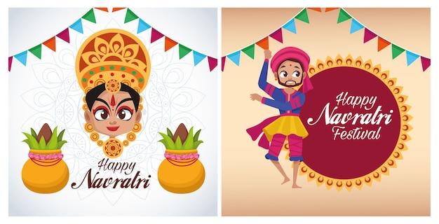 Letras de cartão de celebração feliz navratri com a deusa e o homem dançando Vetor Premium