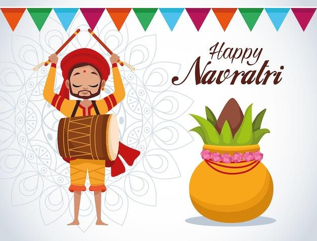 Letras de cartão de celebração feliz navratri com homem tocando tambor e planta Vetor Premium