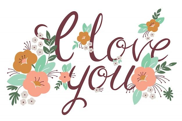 Letras de casamento ou dia dos namorados com flores Vetor Premium