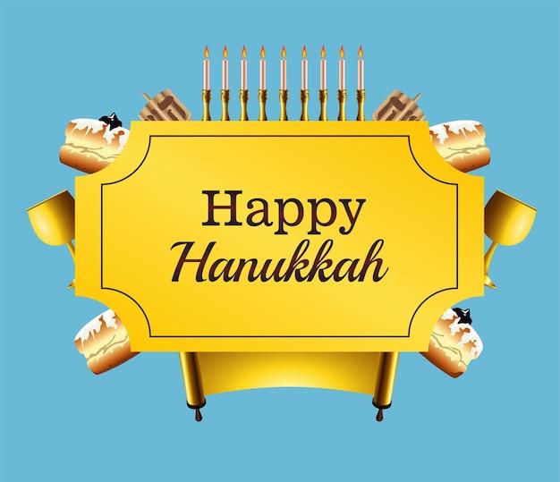 Letras de celebração feliz hanukkah com conjunto de ícones no quadro Vetor Premium