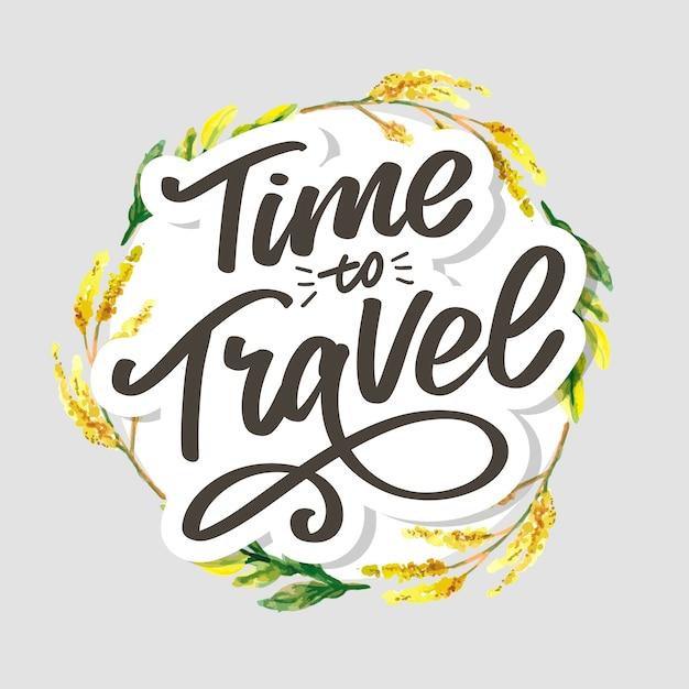 Letras de citações de inspiração de estilo de vida de viagens. tipografia motivacional. Vetor Premium