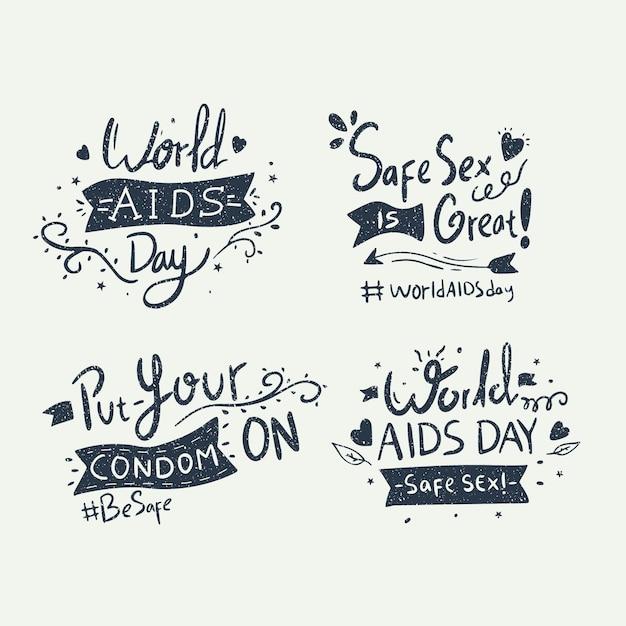 Letras de conscientização do dia mundial da aids Vetor Premium