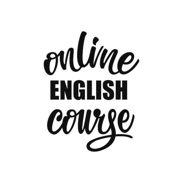Letras de curso de inglês on-line Vetor Premium