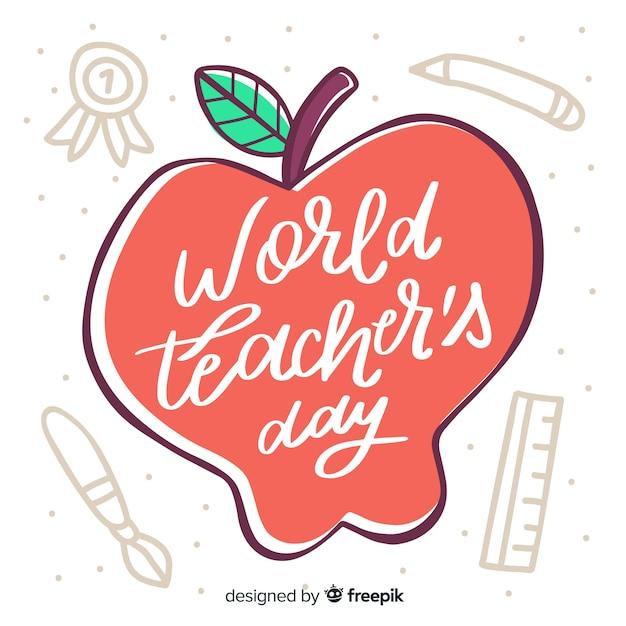Letras de dia dos professores do mundo com maçã desenhada Vetor grátis