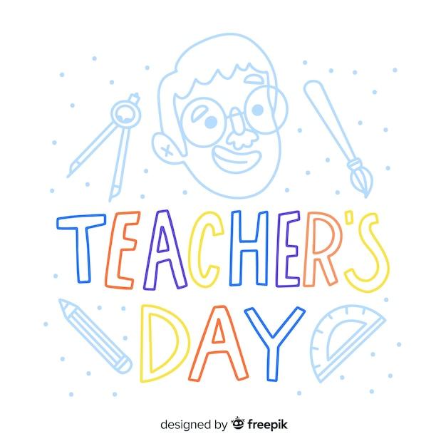 Letras de dia dos professores do mundo Vetor grátis