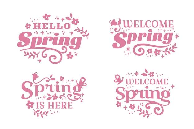 Letras de distintivo rosa design plano primavera Vetor grátis