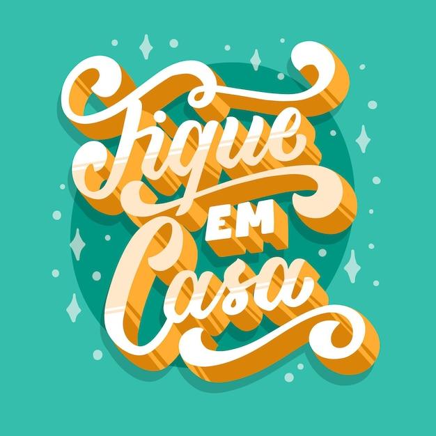 Letras de estadia em casa em português Vetor grátis