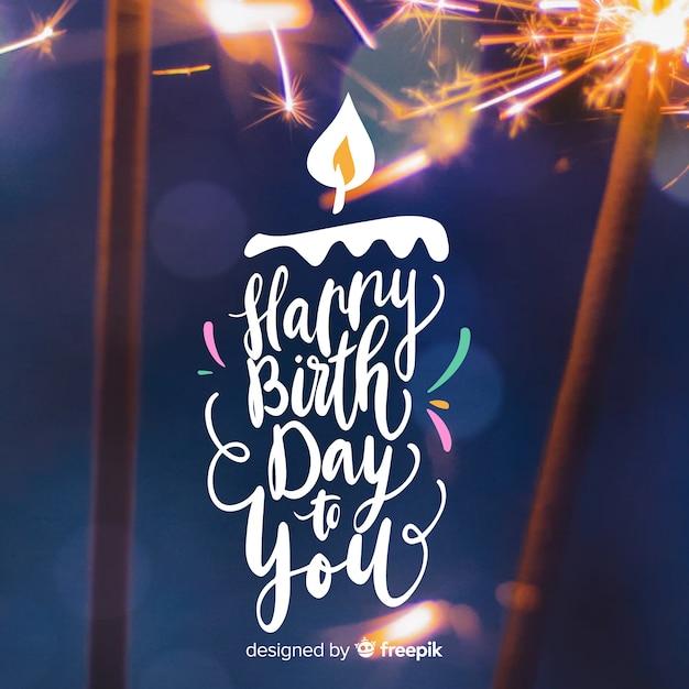 Letras de feliz aniversário com foto Vetor grátis