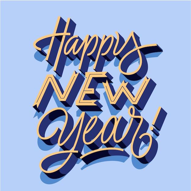 Letras de feliz ano novo vintage Vetor grátis
