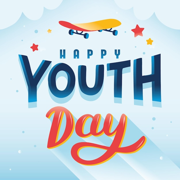 Letras de feliz dia da juventude com skate Vetor grátis
