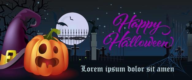 Letras de feliz dia das bruxas. chapéu de bruxa e abóbora no cemitério Vetor grátis