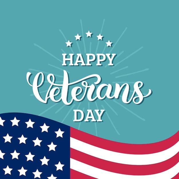 Letras de feliz dia dos veteranos com a bandeira dos eua Vetor Premium