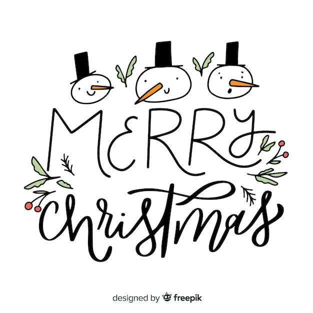 Letras de feliz natal com snowmans Vetor grátis