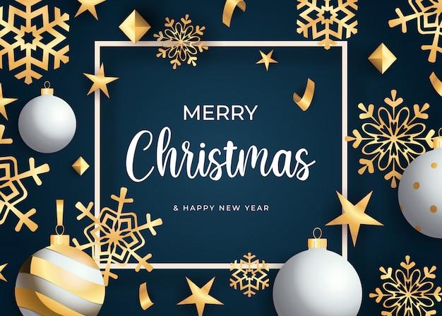 Letras de feliz natal, flocos de neve dourados e bolas Vetor grátis