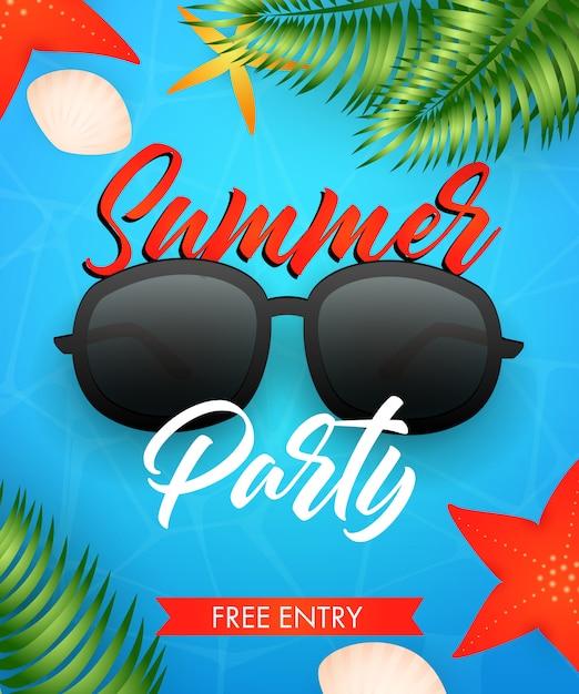 Letras de festa de verão com óculos de sol e folhas tropicais Vetor grátis