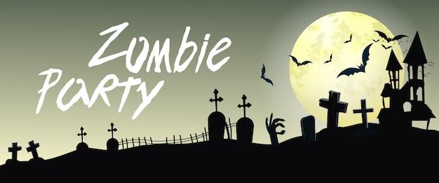 Letras de festa de zumbi com cemitério e lua Vetor grátis