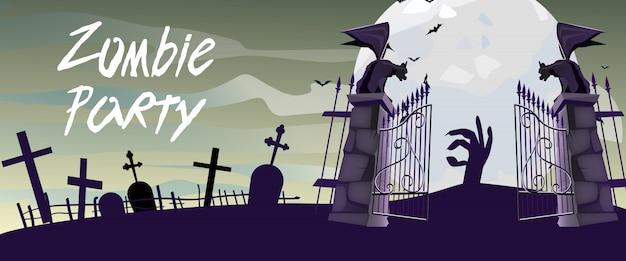 Letras de festa de zumbi com portões de cemitério, gárgulas e lua Vetor grátis