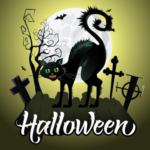 Letras de halloween. assobiando gato preto no cemitério, morcegos, lua Vetor grátis