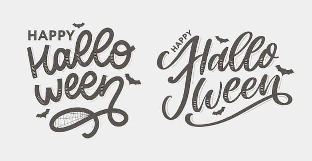 Letras de halloween, cartão e caligrafia, pincel de texto preto Vetor Premium