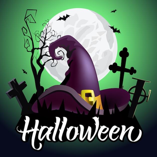 Letras de halloween. chapéu de bruxa no cemitério, morcegos, árvore e lua Vetor grátis