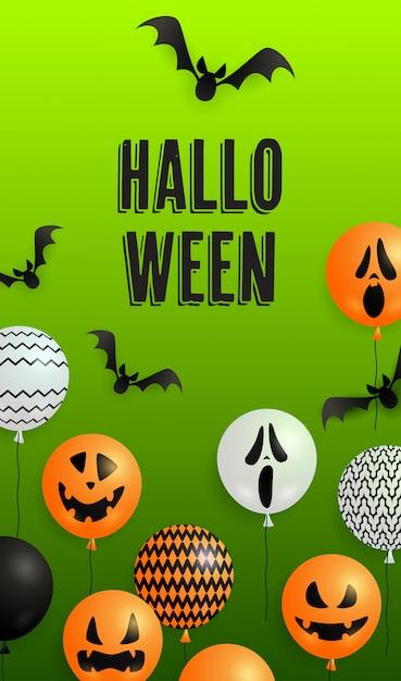 Letras de halloween com balões de abóbora e fantasma Vetor grátis