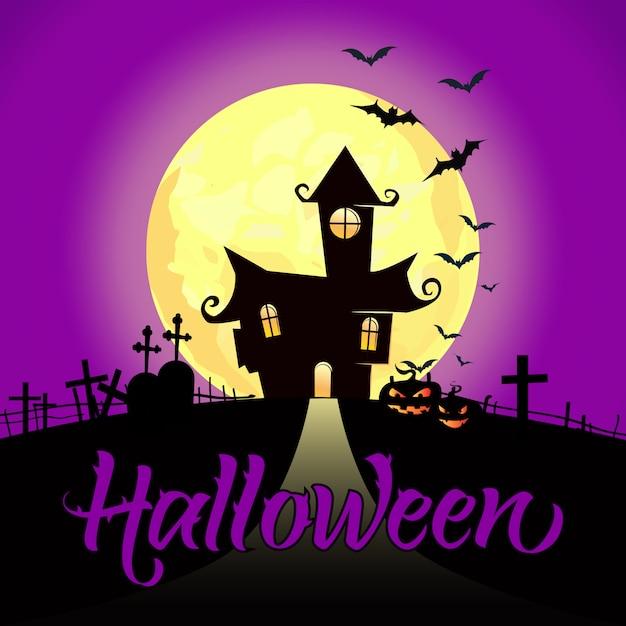 Letras de halloween com lua cheia, castelo, abóboras e morcegos Vetor grátis