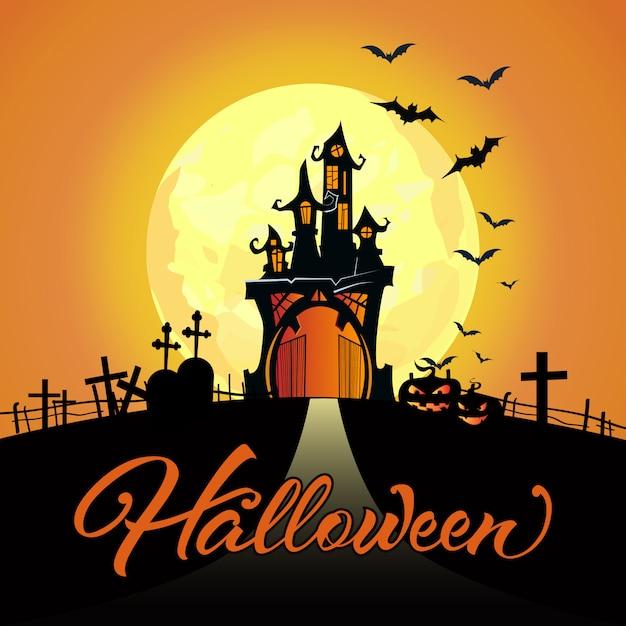 Letras de halloween com lua cheia, castelo, cemitério, abóboras Vetor grátis