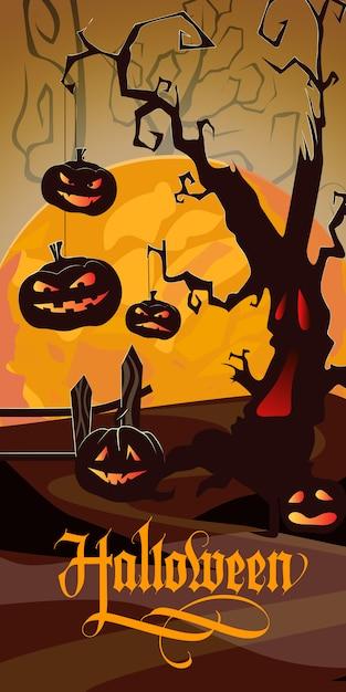 Letras de halloween com lua laranja, árvore assustador e abóboras Vetor grátis