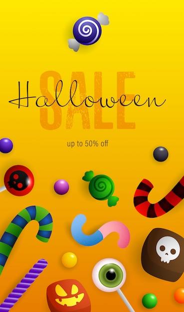 Letras de halloween venda, abóboras, morcegos e poção no caldeirão Vetor grátis