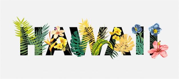 Letras de havaí com flores tropicais e ilustração de árvore exótica Vetor Premium