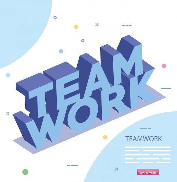 Letras de ícone isolado de trabalho em equipe Vetor grátis