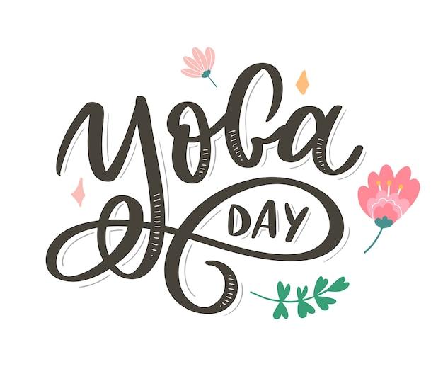 Letras de ioga. dia internacional do yoga. para cartaz, camisetas, bolsas. tipografia de ioga. elementos do vetor para etiquetas, logotipos, ícones, emblemas Vetor Premium