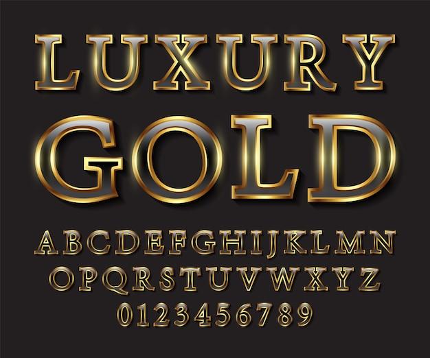 Letras de luxo em preto e ouro Vetor Premium