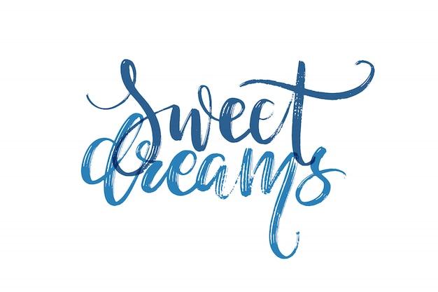 Letras de mão desenhada. bons sonhos palavras à mão. Vetor Premium