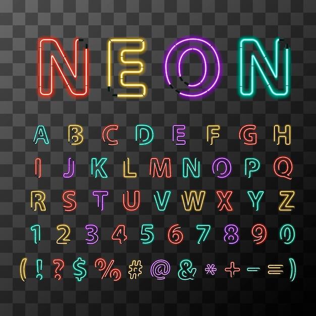 Letras de néon realista colorido brilhante, alfabeto latino completo em fundo transparente Vetor Premium