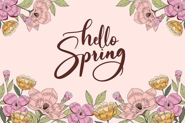 Letras de olá primavera desenhadas à mão Vetor grátis