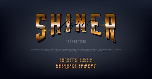 Letras de ouro shiner tipografia regular font digital e clássico conceito Vetor Premium