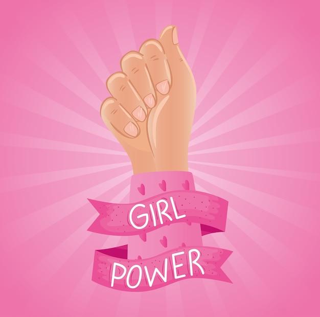 Letras de poder feminino em fita com design de punho de mão Vetor Premium