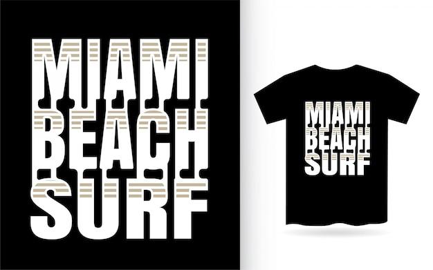 Letras de surf moderno de miami beach Vetor Premium