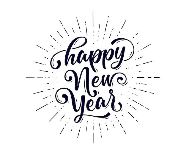 Letras de texto para feliz ano novo Vetor Premium