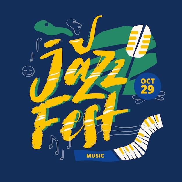 Letras de título de cartaz de festival de música jazz Vetor Premium