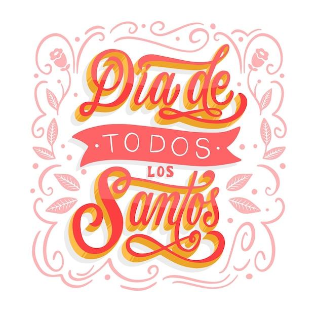 Letras de todos os santos dias com design floral Vetor grátis