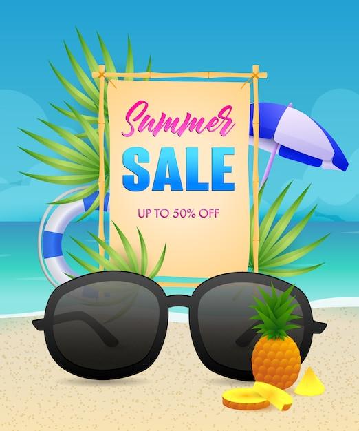 Letras de venda de verão com bóias de vida e óculos de sol Vetor grátis