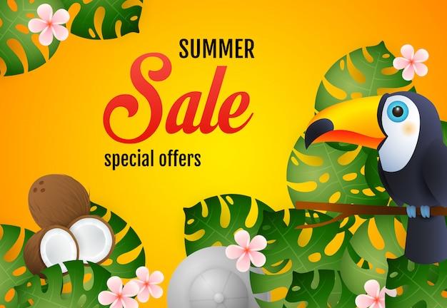 Letras de venda de verão com plantas tropicais, tucano e coco Vetor grátis