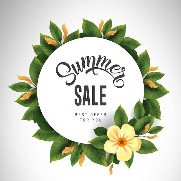 Letras de venda de verão em círculo com flor bonita e folhas. oferta ou venda de publicidade Vetor grátis